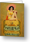 Pinup Greeting Cards - la Matadora Greeting Card by Cinema Photography