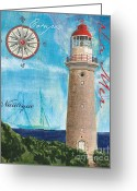Maps Greeting Cards - La Mer Greeting Card by Debbie DeWitt