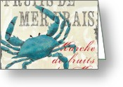 Blue Crab Greeting Cards - La Mer Shellfish 1 Greeting Card by Debbie DeWitt