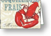 Blue Crab Greeting Cards - La Mer Shellfish 2 Greeting Card by Debbie DeWitt