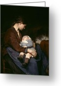 Contemplative Greeting Cards - La Mere Greeting Card by Elizabeth Nourse