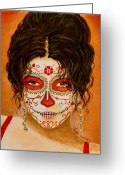 Portrait Greeting Cards - La Muerte Elegante Greeting Card by Al  Molina