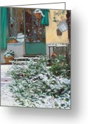 Home Painting Greeting Cards - La Neve A Casa Greeting Card by Guido Borelli