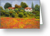 Farm Painting Greeting Cards - La Nuova Estate Greeting Card by Guido Borelli