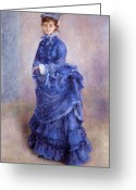 Bleu Greeting Cards - La Parisienne The Blue Lady  Greeting Card by Pierre Auguste Renoir