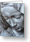 Pieta Painting Greeting Cards - La Pieta Detail Greeting Card by Nicko Gutierrez