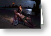 Resurrected Greeting Cards - La Pieta Miami Greeting Card by Wick Beavers