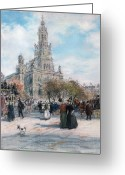 Urban Pastels Greeting Cards - La Place de Trinite Greeting Card by Jean Francois Raffaelli