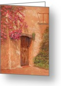 Mexican Pastels Greeting Cards - La Puerta Greeting Card by Marina Garrison