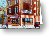Montreal Street Life Greeting Cards - La Quebecoise Restaurant Montreal Greeting Card by Carole Spandau