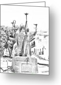 Destinations Digital Art Greeting Cards - La Rogativa Sculpture Old San Juan Puerto Rico Black and White Line Art Greeting Card by Shawn OBrien