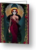 Calaveras Greeting Cards - La Rosa Greeting Card by Cristina McAllister