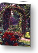Rose Bushes Greeting Cards - La Rosaeraie de Bagatelle Greeting Card by David Lloyd Glover