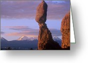 "\""guadalupe National Park\\\"" Greeting Cards - La Sal Mountains And Balanced Rock Greeting Card by Tim Fitzharris"