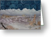 Estephy Sabin Figueroa Painting Greeting Cards - La Sal Mountains in the Snow Greeting Card by Estephy Sabin Figueroa