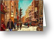 Montreal Street Life Greeting Cards - La Senza St Catherine Street Downtown Montreal Greeting Card by Carole Spandau
