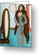 Mink Greeting Cards - La Shai Mirror Mirror Mirror on the wall. Greeting Card by Marie Bulger