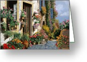 Windows Greeting Cards - La Strada Del Lago Greeting Card by Guido Borelli