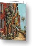 Street Scene Greeting Cards - La Strada Verso Il Lago Greeting Card by Guido Borelli