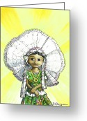 Mexican Greeting Cards - La Tehuanita Greeting Card by Isis Rodriguez