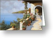 Sea Flowers Greeting Cards - La Terrazza Greeting Card by Guido Borelli