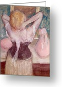Ladies Greeting Cards - La Toilette Greeting Card by Edgar Degas
