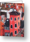 Chimney Pastels Greeting Cards - La Tour Rose In Lyon 1 Greeting Card by EMONA Art