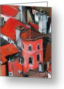 Chimney Pastels Greeting Cards - La Tour Rose In Lyon 2 Greeting Card by EMONA Art