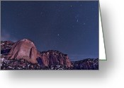 Barren Land Greeting Cards - La Ventana Arch With The Orion Greeting Card by John Davis