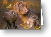 The Art Of Carol Cavalaris Greeting Cards - Lab In Autumn Greeting Card by Carol Cavalaris