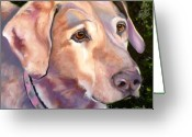 Dog Prints Drawings Greeting Cards - Lab One of a Kind Greeting Card by Susan A Becker