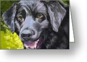 Black Lab Puppy Greeting Cards - Lab Out of the Pond Greeting Card by Susan A Becker