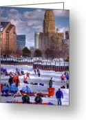 Hockey Greeting Cards - Labatt Pond Hockey 2011 Greeting Card by Don Nieman