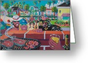 Los Angeles Painting Greeting Cards - Labor Day Venice Style Greeting Card by Frank Strasser