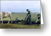 Labour Greeting Cards - Labourer and Peasant  Greeting Card by Vincent van Gogh