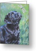 L.a.shepard Greeting Cards - Labrador Retriever pup and dragonfly Greeting Card by L A Shepard