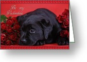 Fourteen Greeting Cards - Labrador valentine card Greeting Card by Waldek Dabrowski