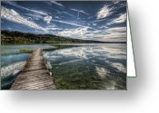 Horizon Over Land Greeting Cards - Lac Saint-point Greeting Card by Philippe Saire - Photography
