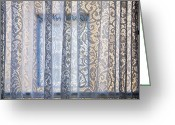 Boho Greeting Cards - Lace Curtain Greeting Card by Glennis Siverson