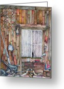 Cabin Window Painting Greeting Cards - Lace Curtains Greeting Card by Carmen Gardell