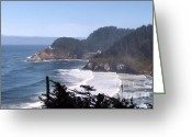 Trees And Rock Cliffs Greeting Cards - Lacey  Waves Greeting Card by Katie  Wing Vigil