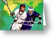 Sports Art Painting Greeting Cards - Lacrosse I Greeting Card by Scott Melby
