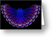 Owl Digital Art Greeting Cards - Lacy Jewel Tone Fractal Flying Owl Greeting Card by Andee Photography