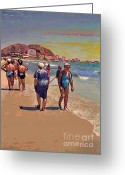 Spaniards Greeting Cards - Ladies at the Beach in Alicante Greeting Card by Sarah Loft