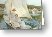 Laying Greeting Cards - Ladies in a Sailing Boat  Greeting Card by Jules Cayron