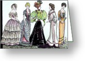 Fashionable Drawings Greeting Cards - Ladies of Fashion 1860 to 1910 Greeting Card by Mel Thompson
