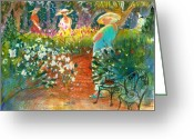Savannah Artist Greeting Cards - Ladies of the Garden Greeting Card by Gertrude Palmer