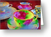 Teacup Digital Art Greeting Cards - Ladies Tea Time Greeting Card by Kathy Clark