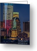 Battery Park Greeting Cards - Lady and Freedom Greeting Card by Susan Candelario