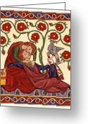 Egg Tempera Painting Greeting Cards - Lady and Knight with hawk Greeting Card by Raffaella Lunelli